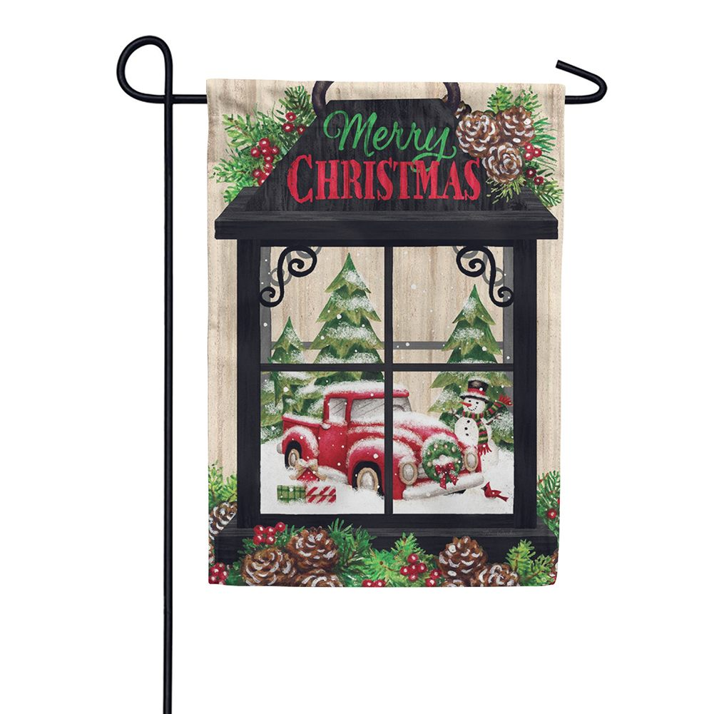 Christmas Lantern Merry Christmas Double Sided Garden Flag