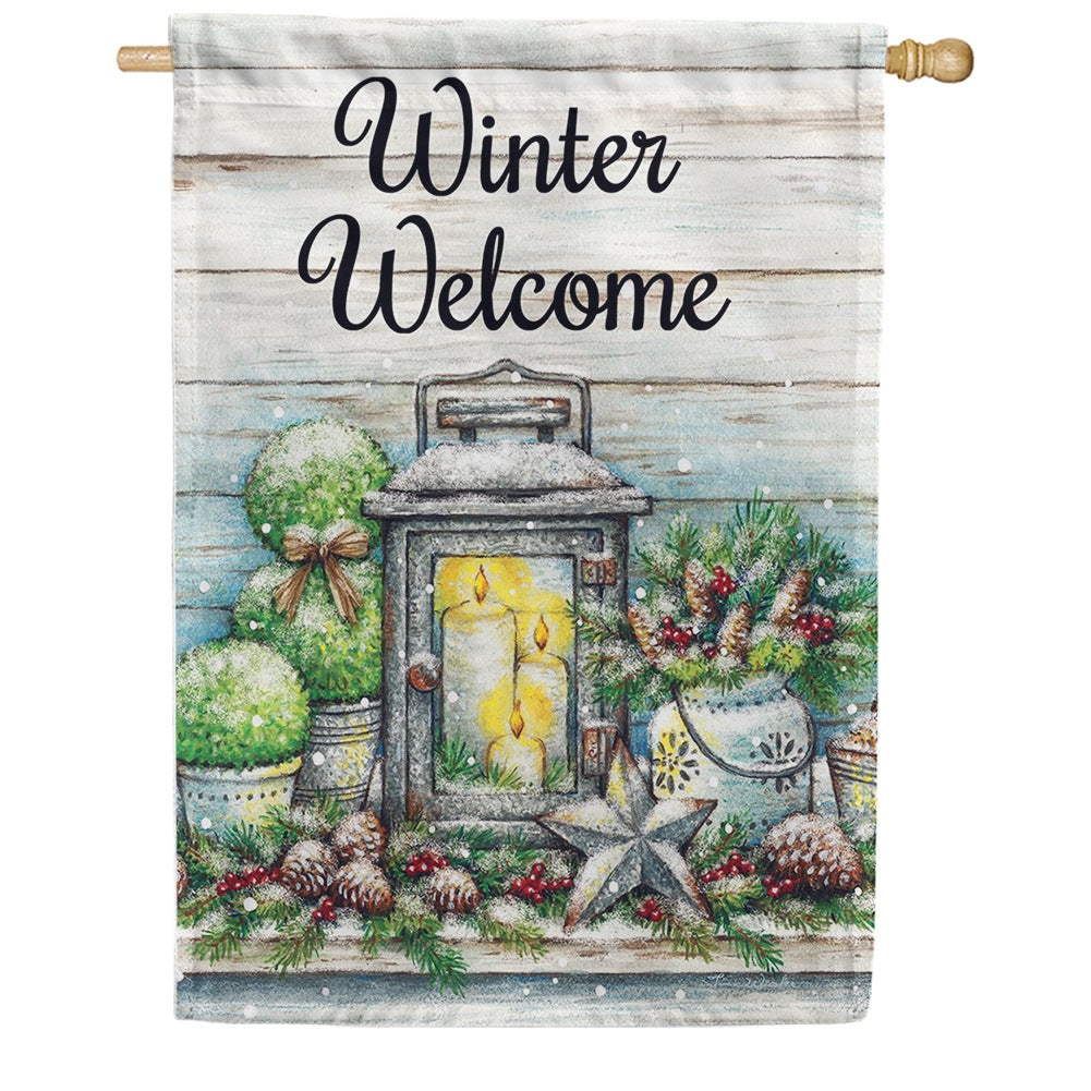 Warm Winter Welcome Double Sided House Flag