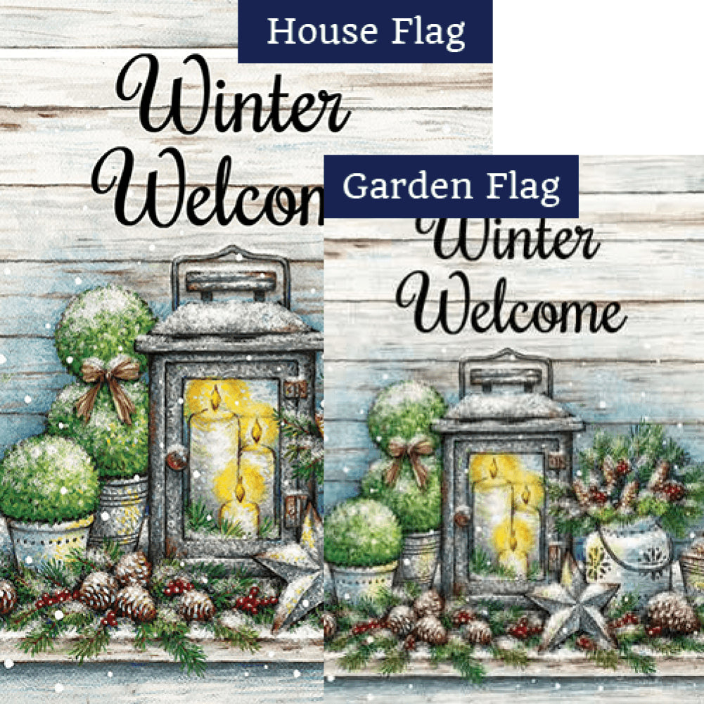 Warm Winter Welcome Double Sided Flags Set (2 Pieces)