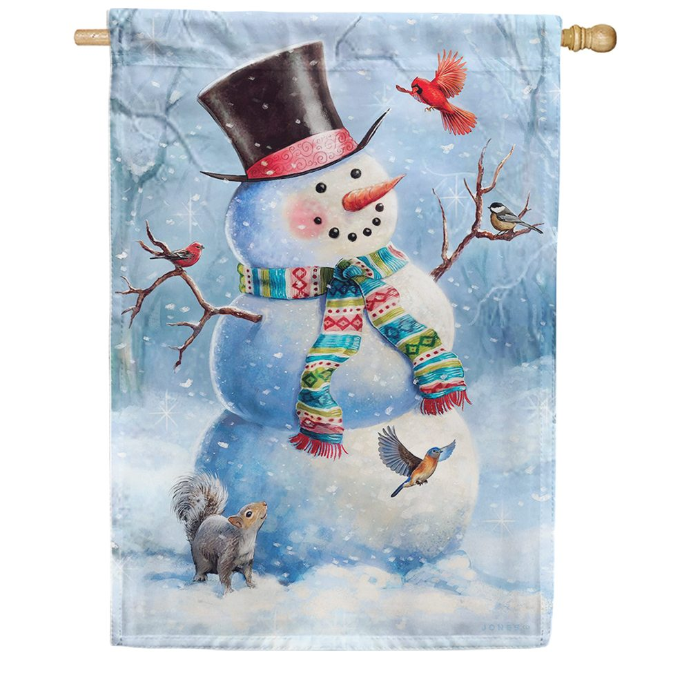 Woodsy Snowman Double Sided House Flag