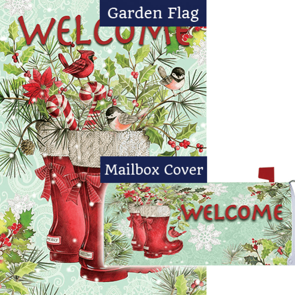 Santa Boots Double Sided Flag Mailwrap Set (2 Pieces)
