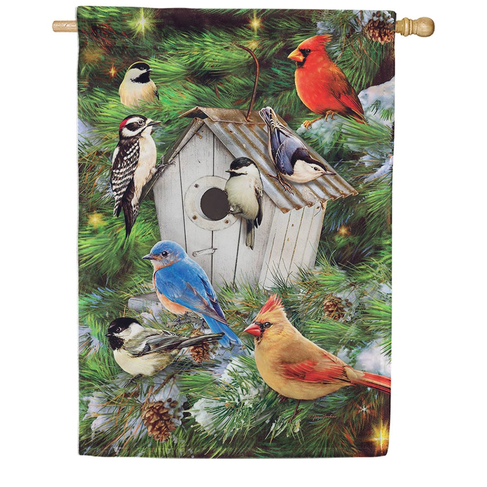 Winter Birdhouse Pinecones Double Sided House Flag