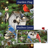 Winter Birdhouse Pinecones Double Sided Flag Mailwrap Set (2 Pieces)