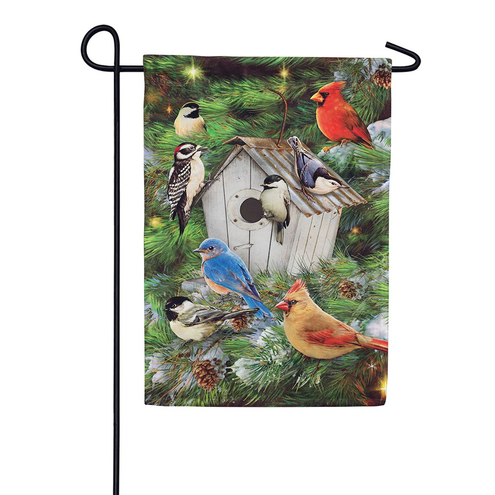 Winter Birdhouse Pinecones Double Sided Garden Flag