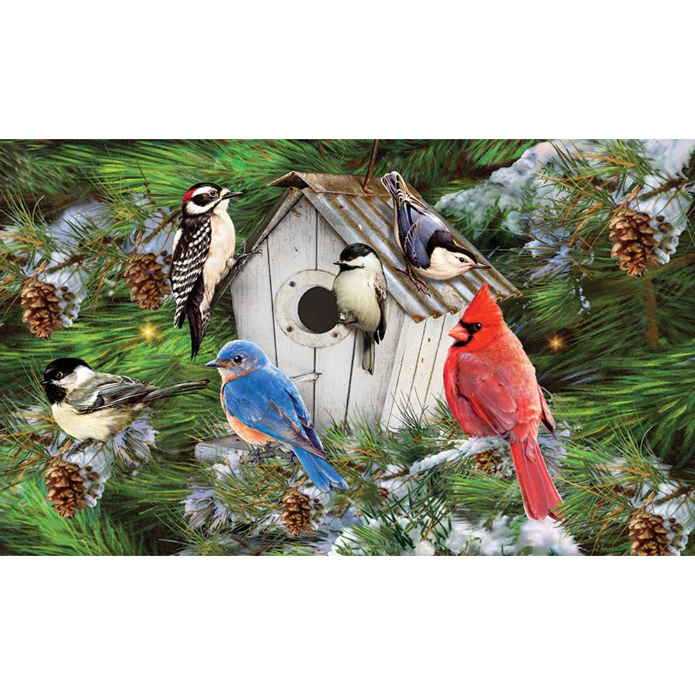 Winter Birdhouse Pinecones Doormat