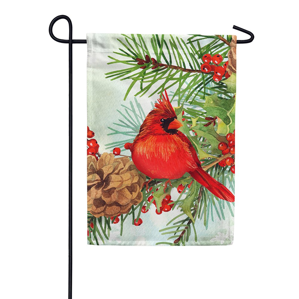 Cardinals & Pines Garden Flag