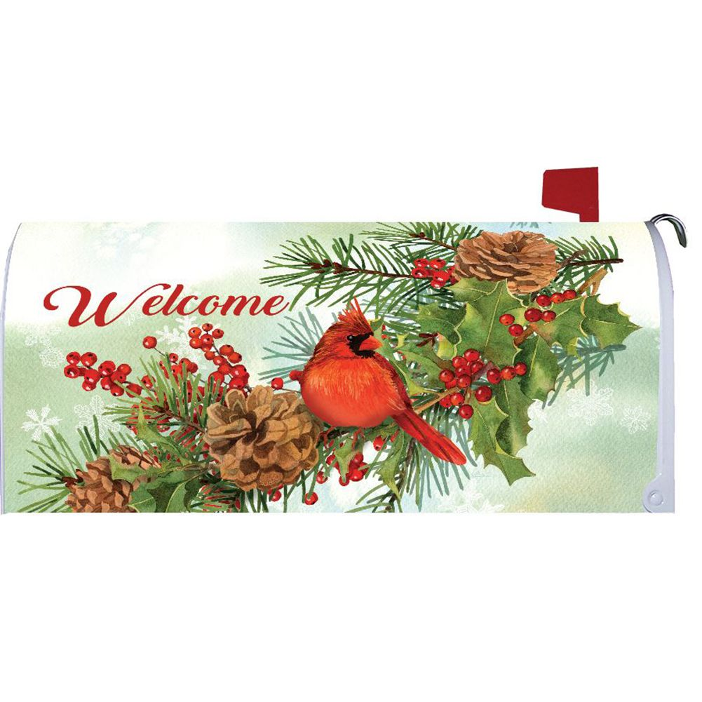 Cardinals & Pines Mailbox Cover