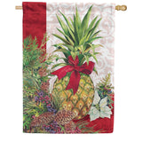 Holiday Pineapple Poinsettia House Flag
