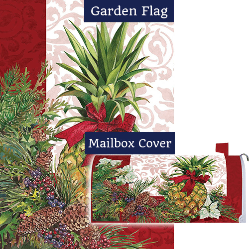 Holiday Pineapple Poinsettia Flag Mailwrap Set (2 Pieces)