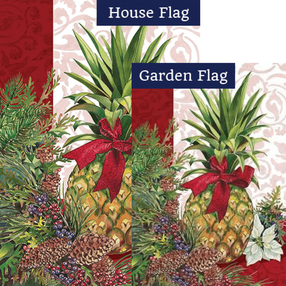 Holiday Pineapple Poinsettia Flags Set (2 Pieces)