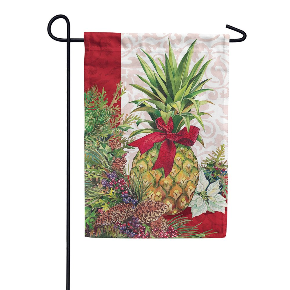 Holiday Pineapple Poinsettia Garden Flag