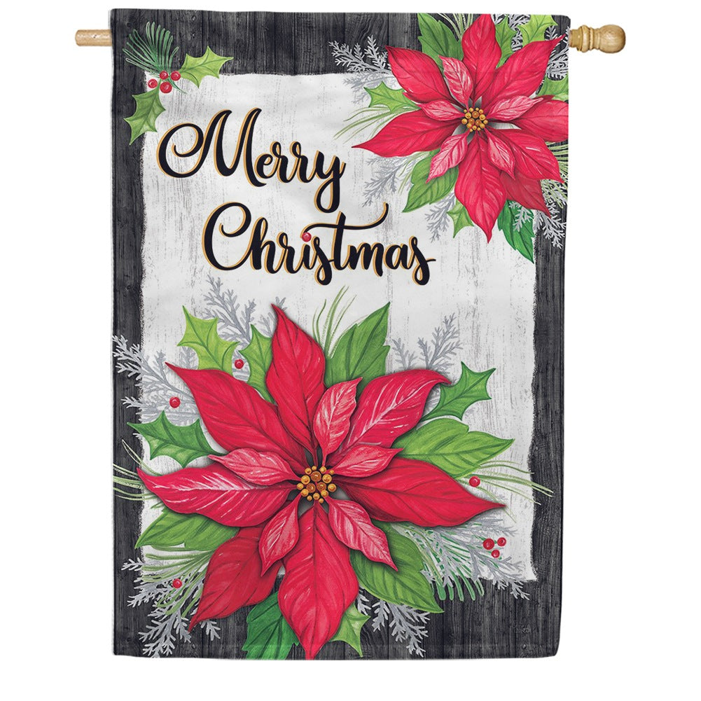 Christmas Poinsettia Holly Double Sided House Flag