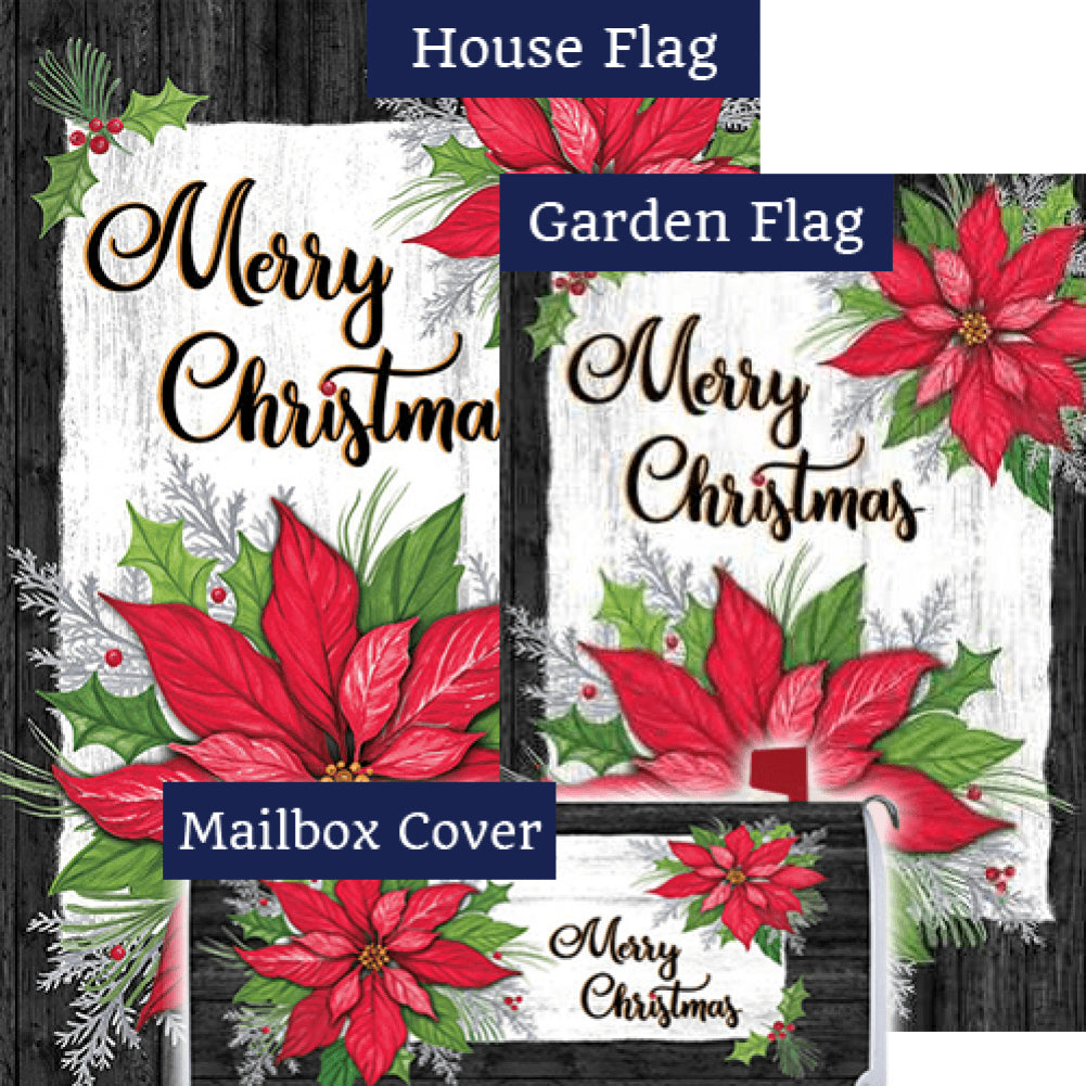 Christmas Poinsettia Holly Double Sided Yard Makeover Set (3 Pieces)
