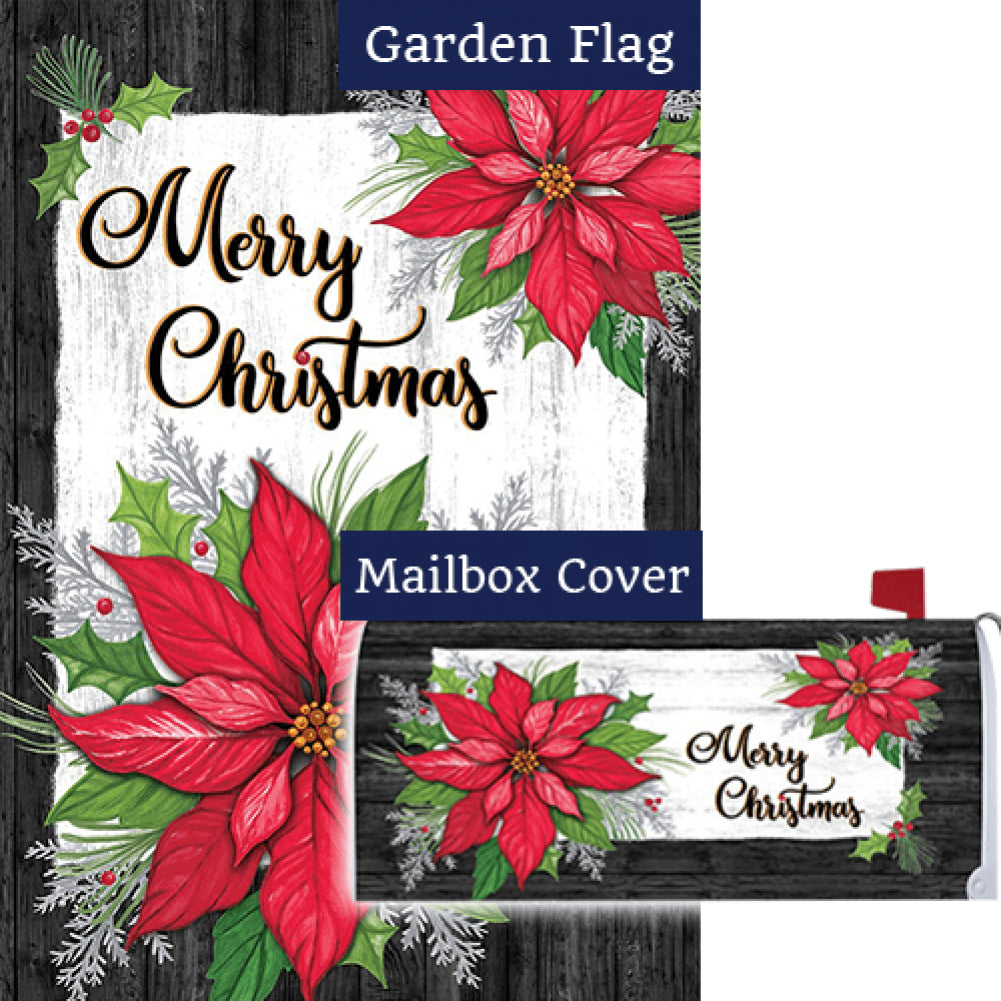 Christmas Poinsettia Holly Double Sided Flag Mailwrap Set (2 Pieces)