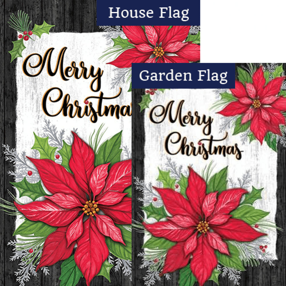 Christmas Poinsettia Holly Double Sided Flags Set (2 Pieces)