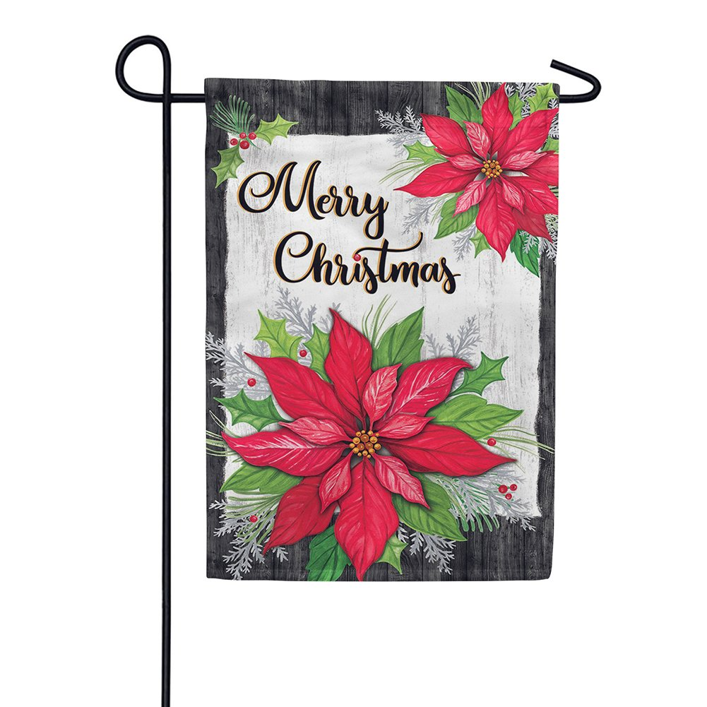 Christmas Poinsettia Holly Double Sided Garden Flag