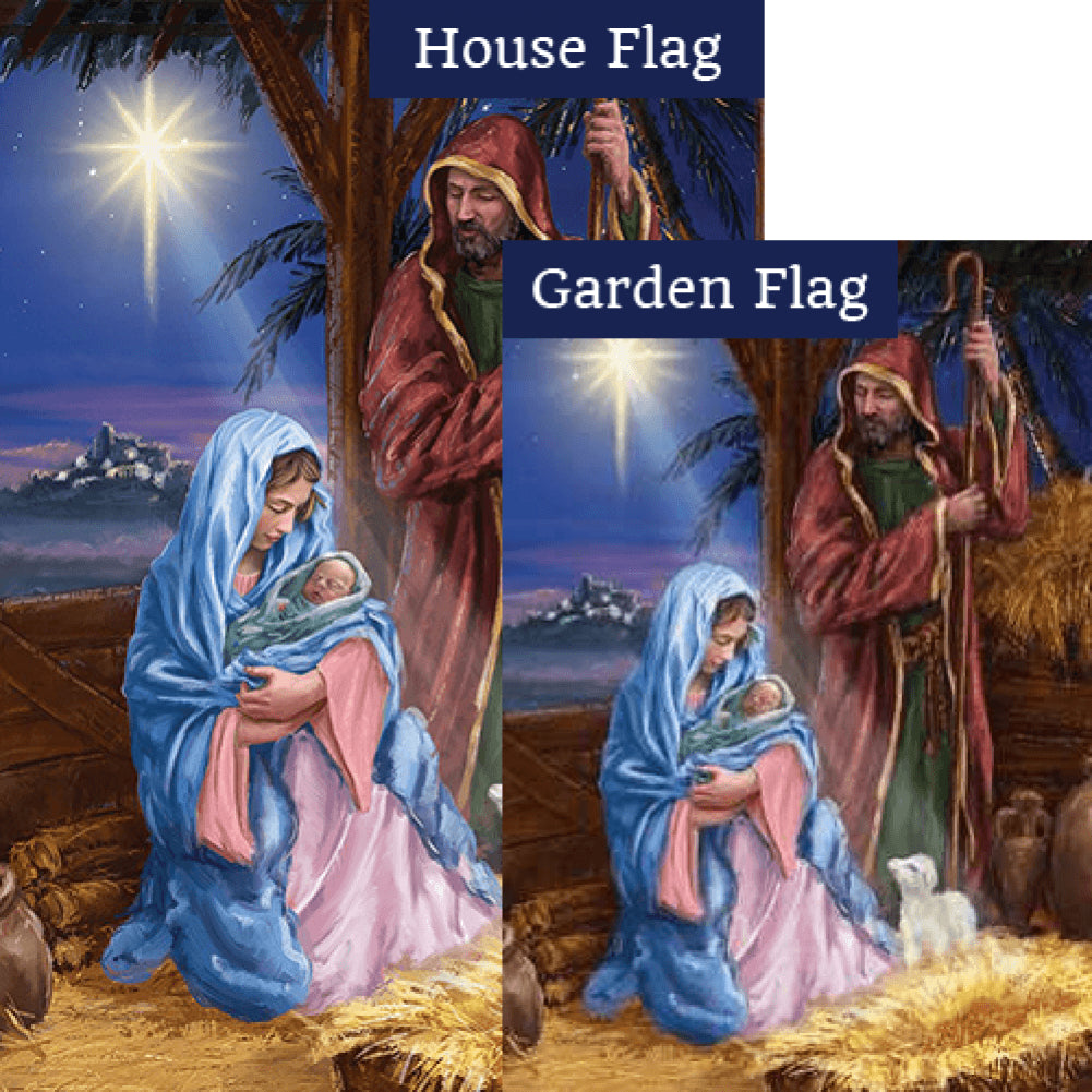 Mary And Joseph Double Sided Flags Set (2 Pieces)