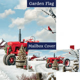 Red Tractor Winter Double Sided Flag Mailwrap Set (2 Pieces)