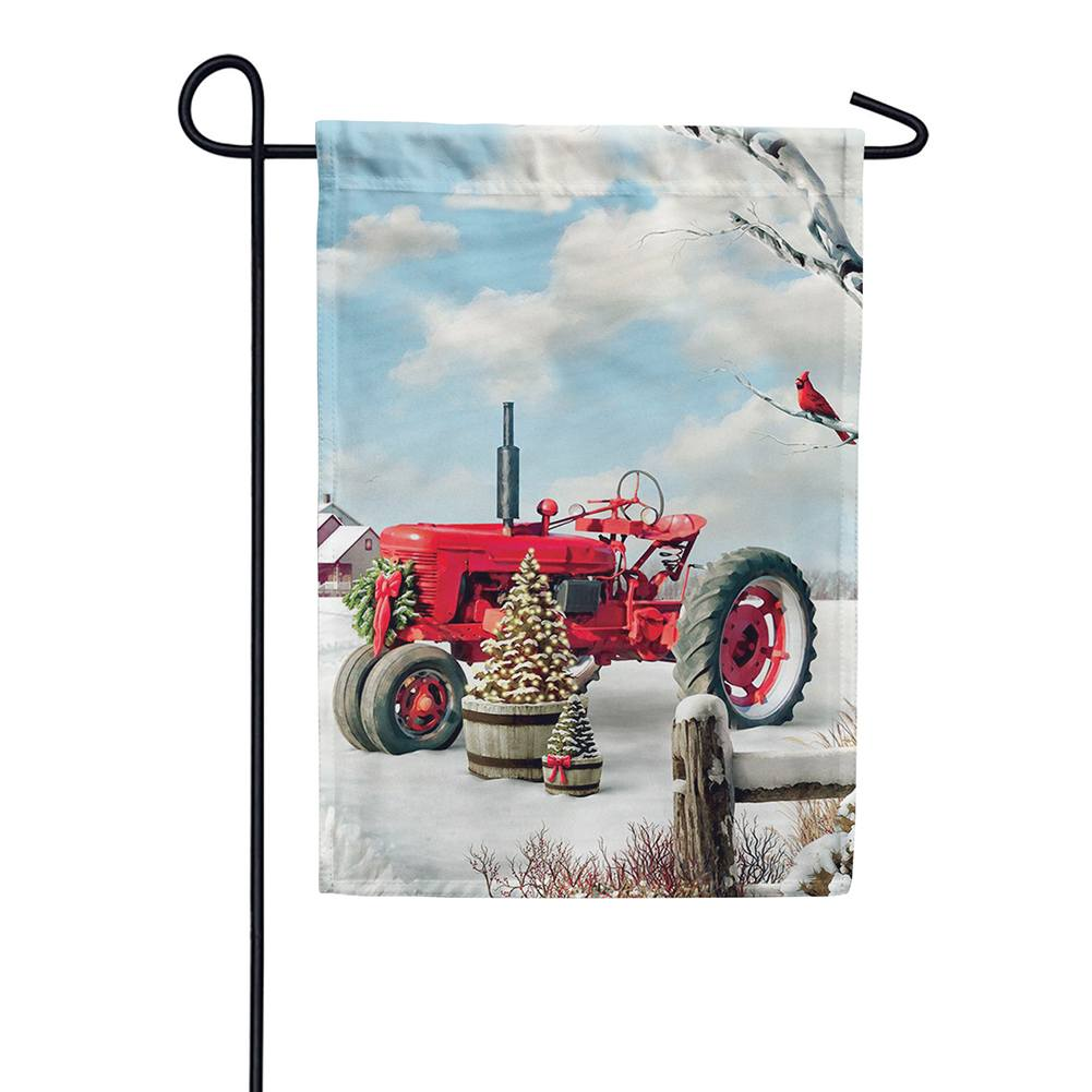Red Tractor Winter Double Sided Garden Flag
