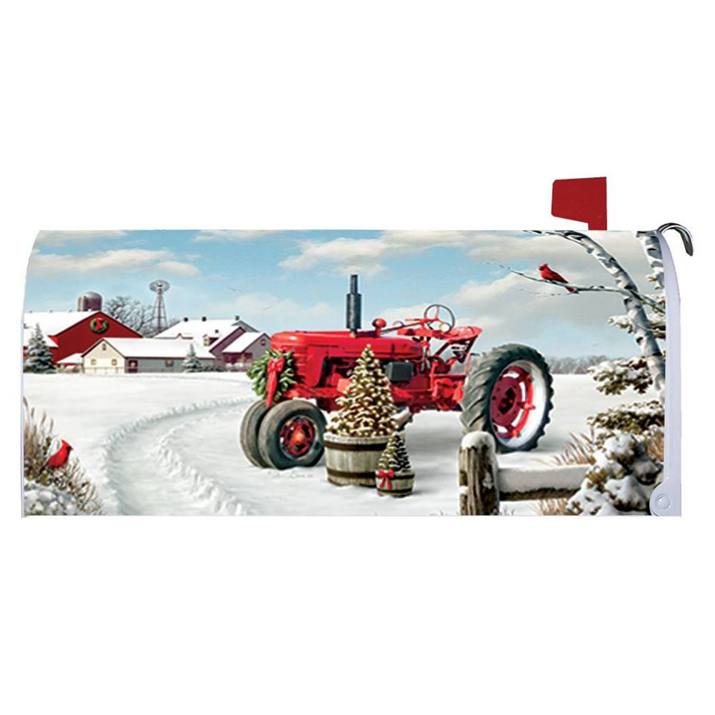 Red Tractor Winter Mailbox Cover