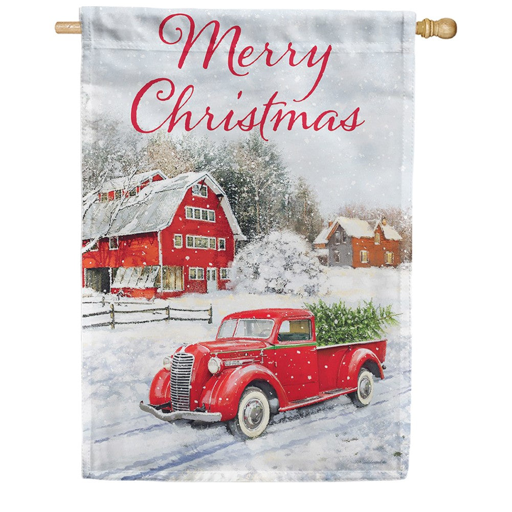 Red Truck & Barn Double Sided House Flag
