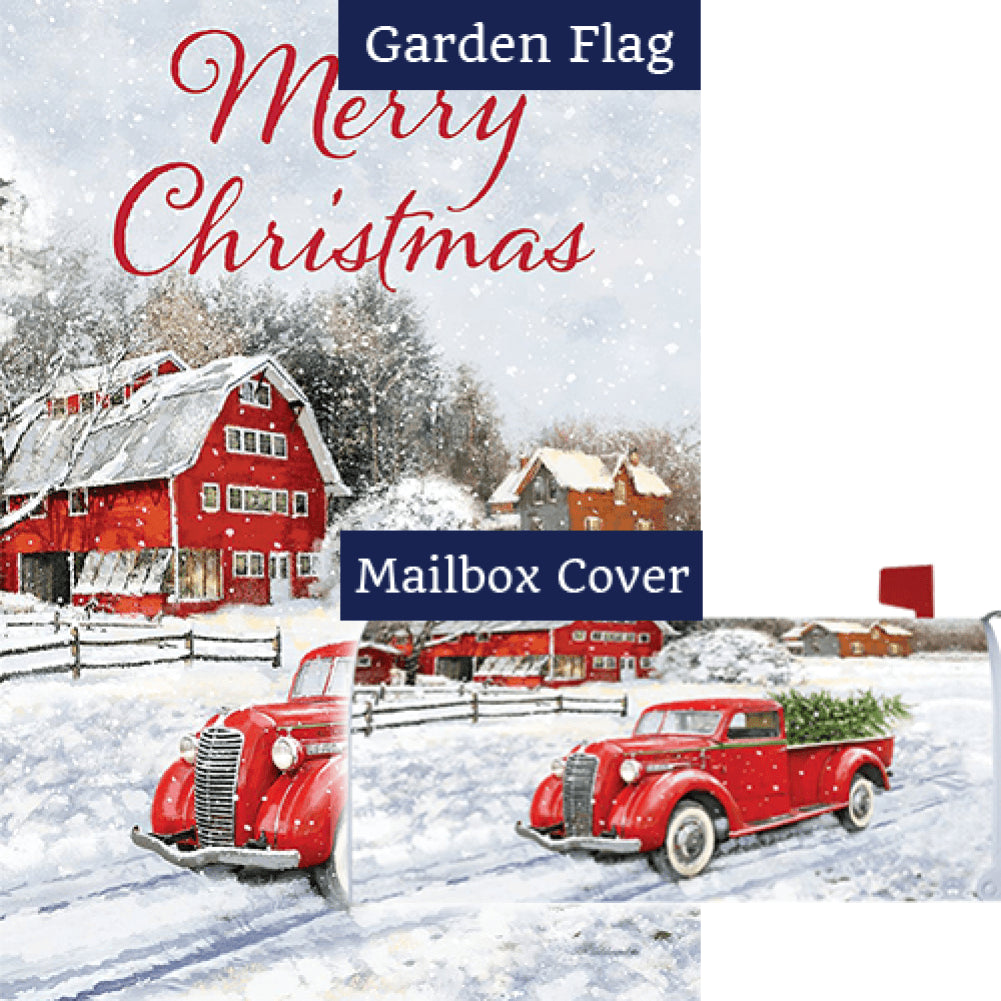Red Truck & Barn Double Sided Flag Mailwrap Set (2 Pieces)