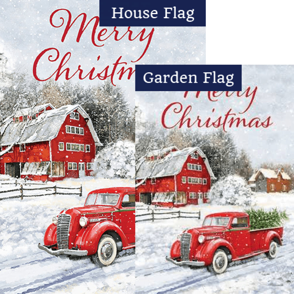 Red Truck & Barn Double Sided Flags Set (2 Pieces)