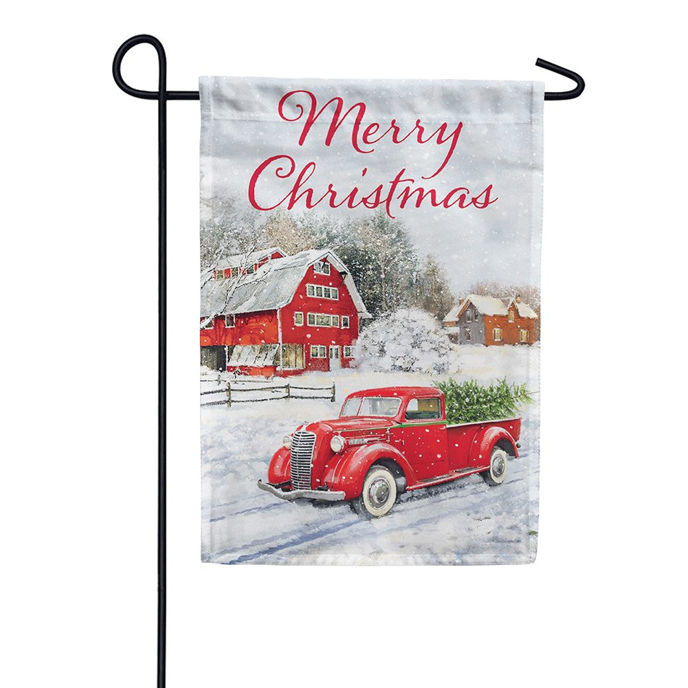 custom decor red truck  u0026 barn double sided garden flag  flagsrus org