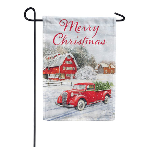 Red Truck & Barn Double Sided Garden Flag
