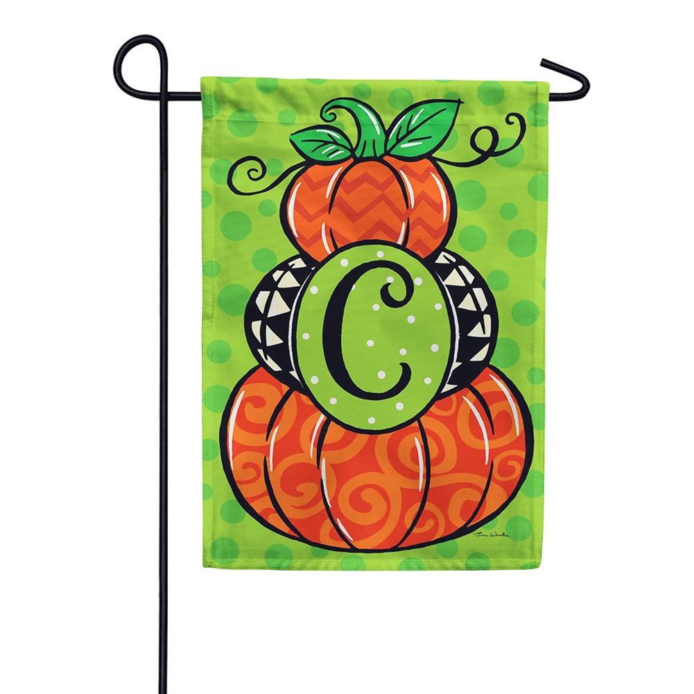 Pumpkin Stack Monogram Double Sided Garden Flag