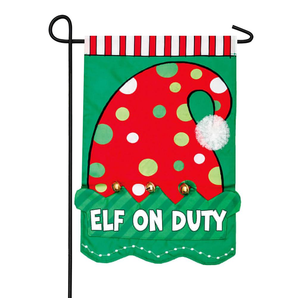 Elf On Duty Appliqued Double Sided Garden Flag