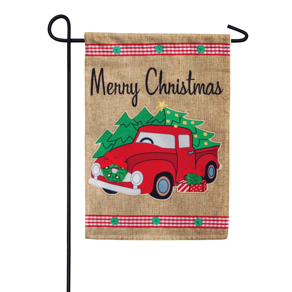 Christmas Truck Burlap Double Sided Garden Flag