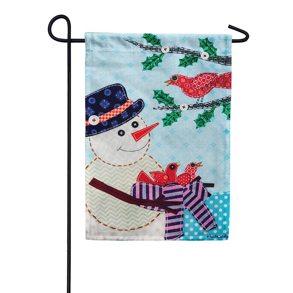 Snowman With Nest Appliqued Double Sided Garden Flag