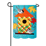 Fall Birdhouse Appliqued Double Sided Garden Flag