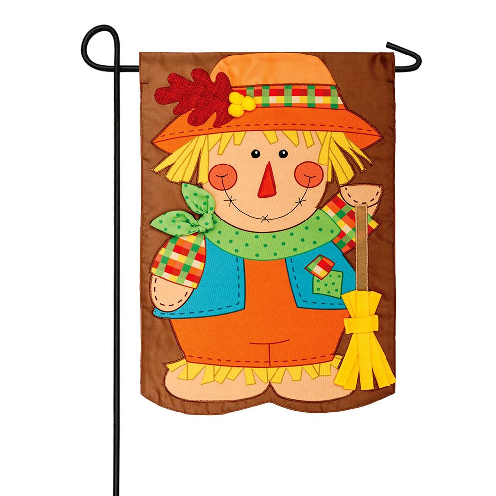 Scarecrow With Broom Appliqued Double Sided Garden Flag