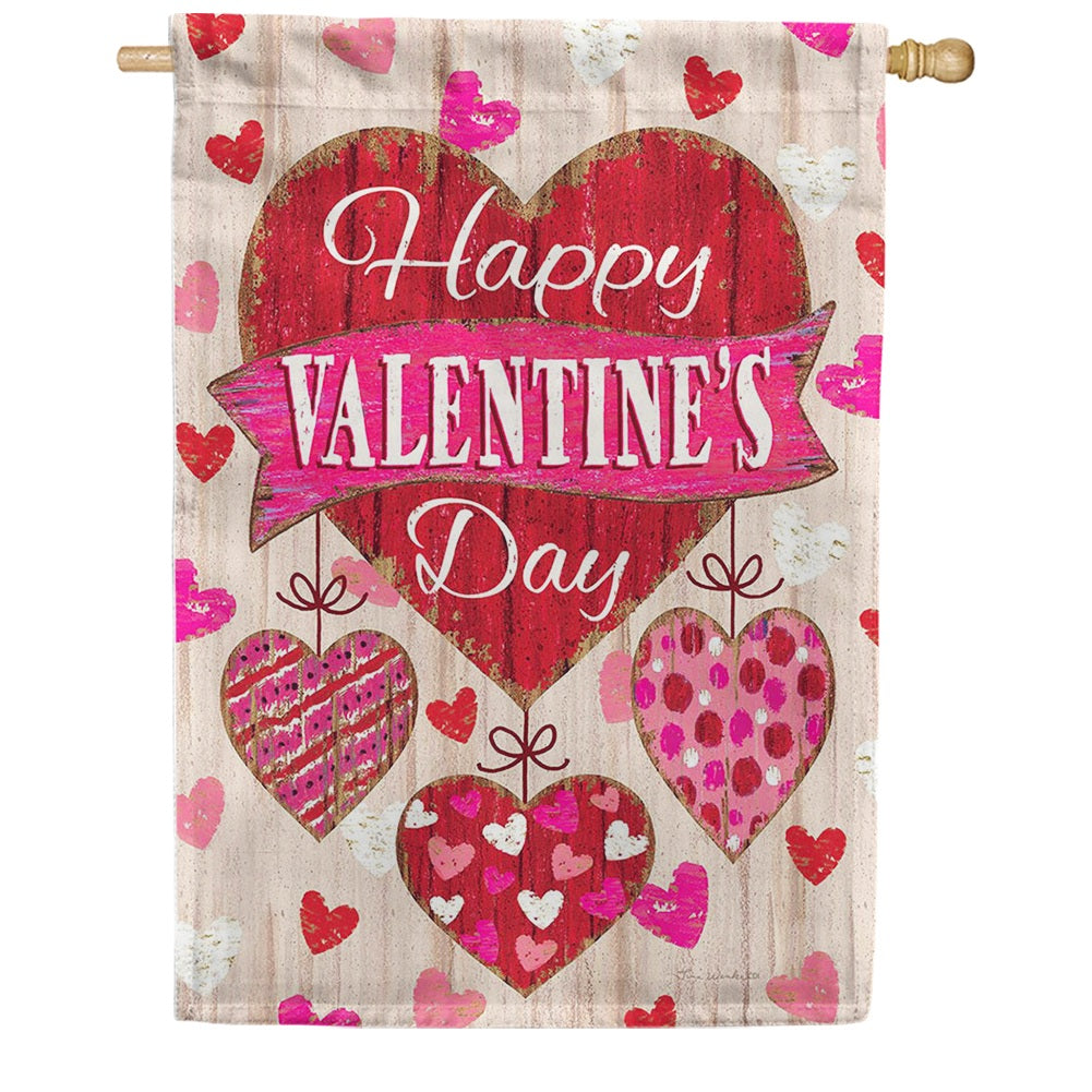 Wooden Valentine Double Sided House Flag