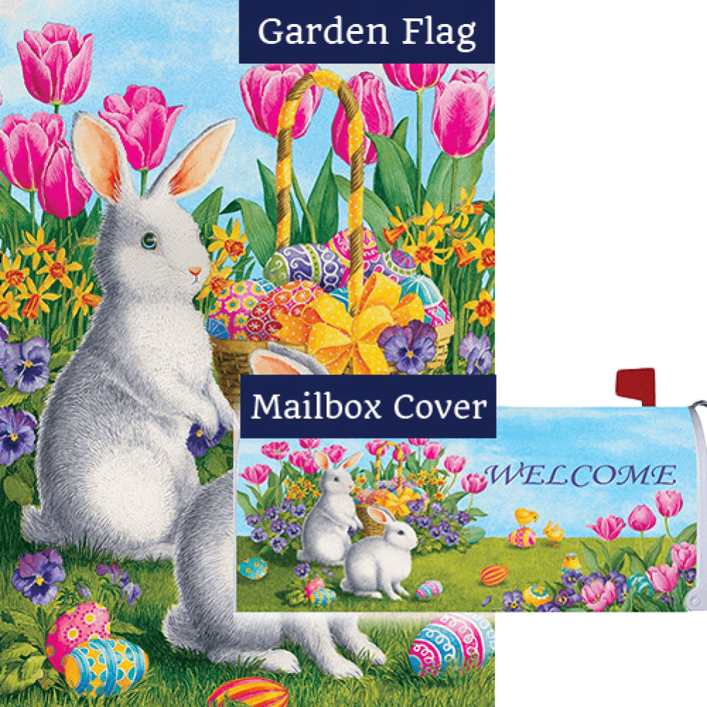 White Bunnies Tulips Flag Mailwrap Set (2 Pieces)