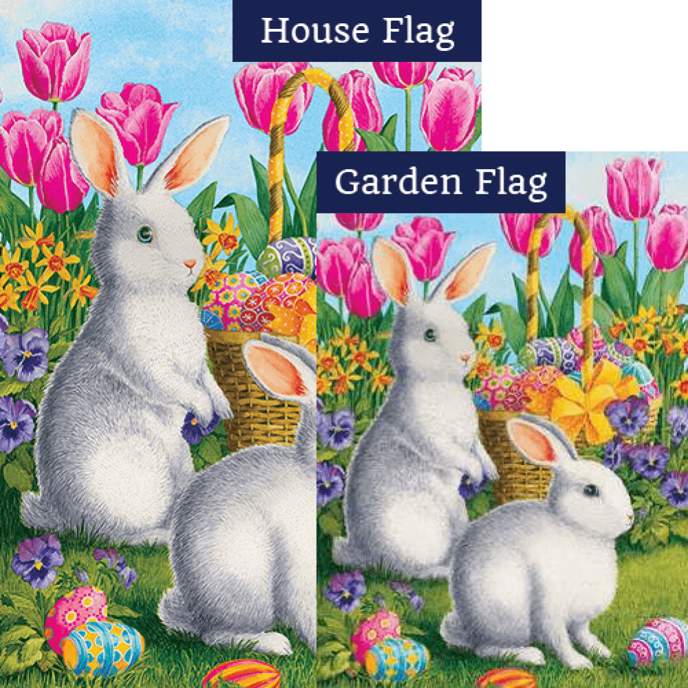 White Bunnies Tulips Flags Set (2 Pieces)