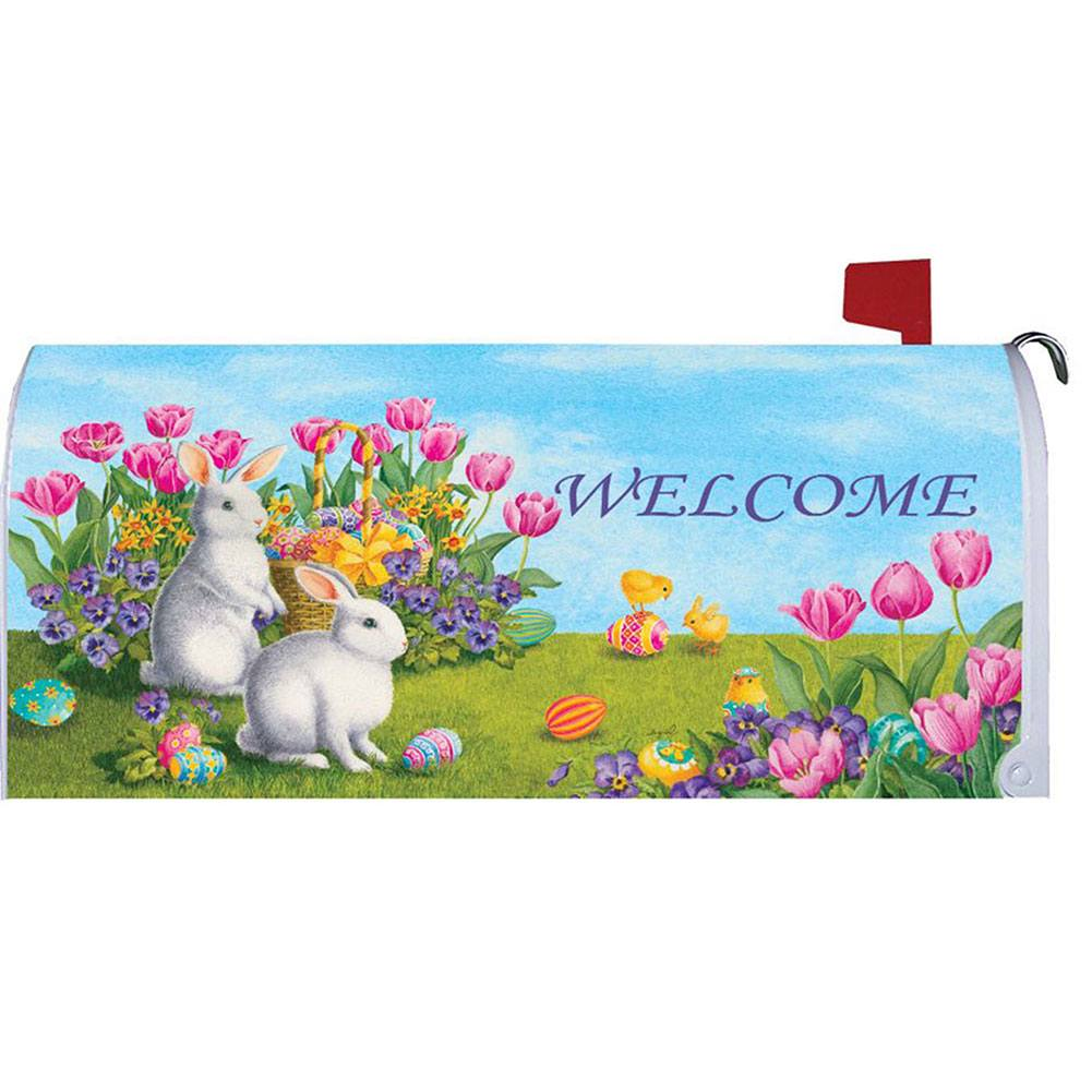 White Bunnies Tulips Mailbox Cover