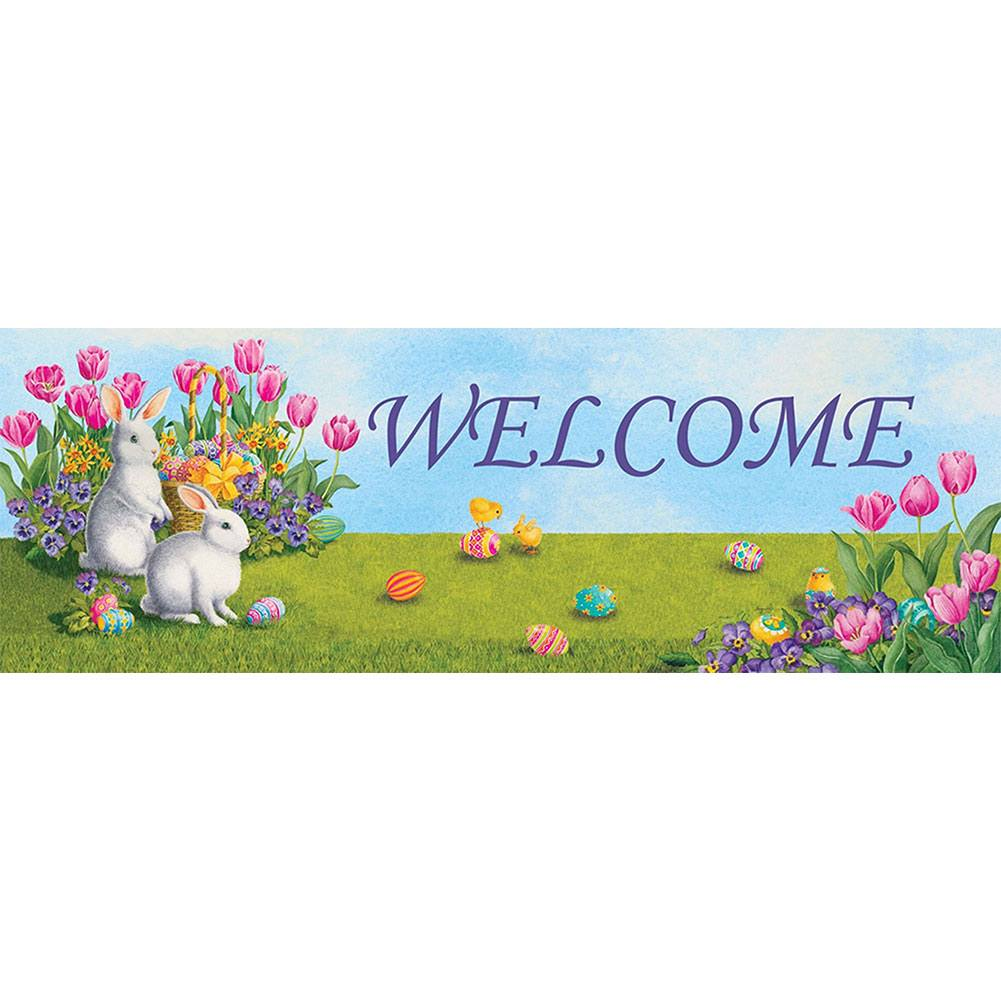 White Bunnies Tulips Signature Sign