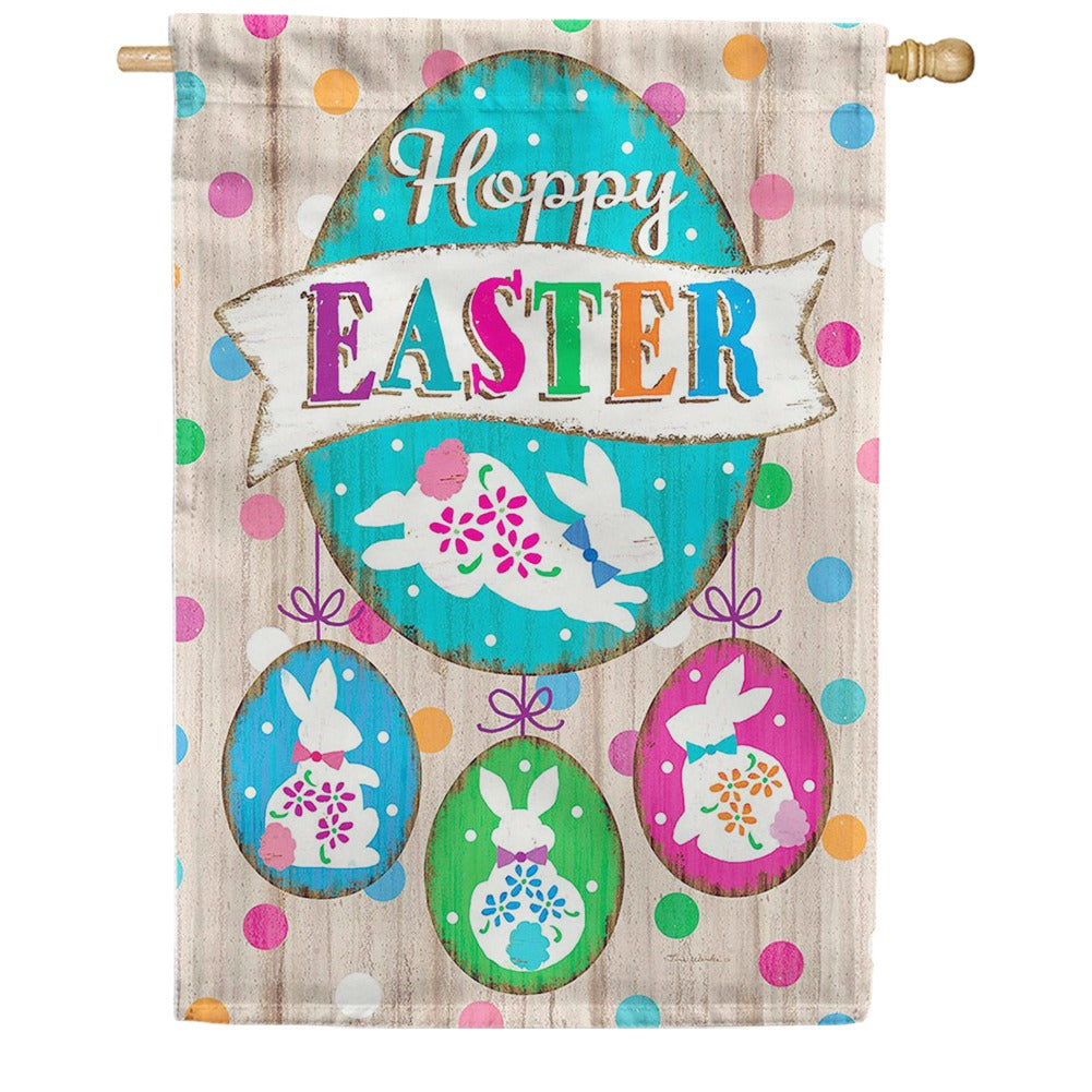 Wooden Easter Double Sided House Flag