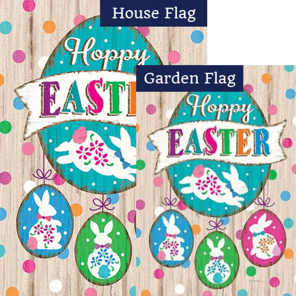 Wooden Easter Double Sided Flags Set (2 Pieces)