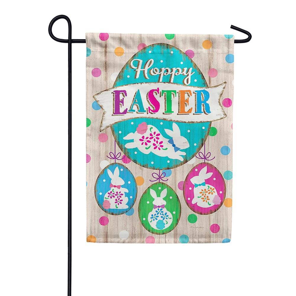 Wooden Easter Double Sided Garden Flag