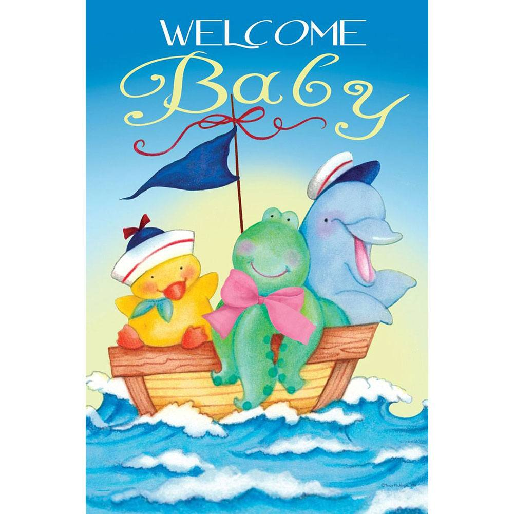 Welcome Baby Garden Flag