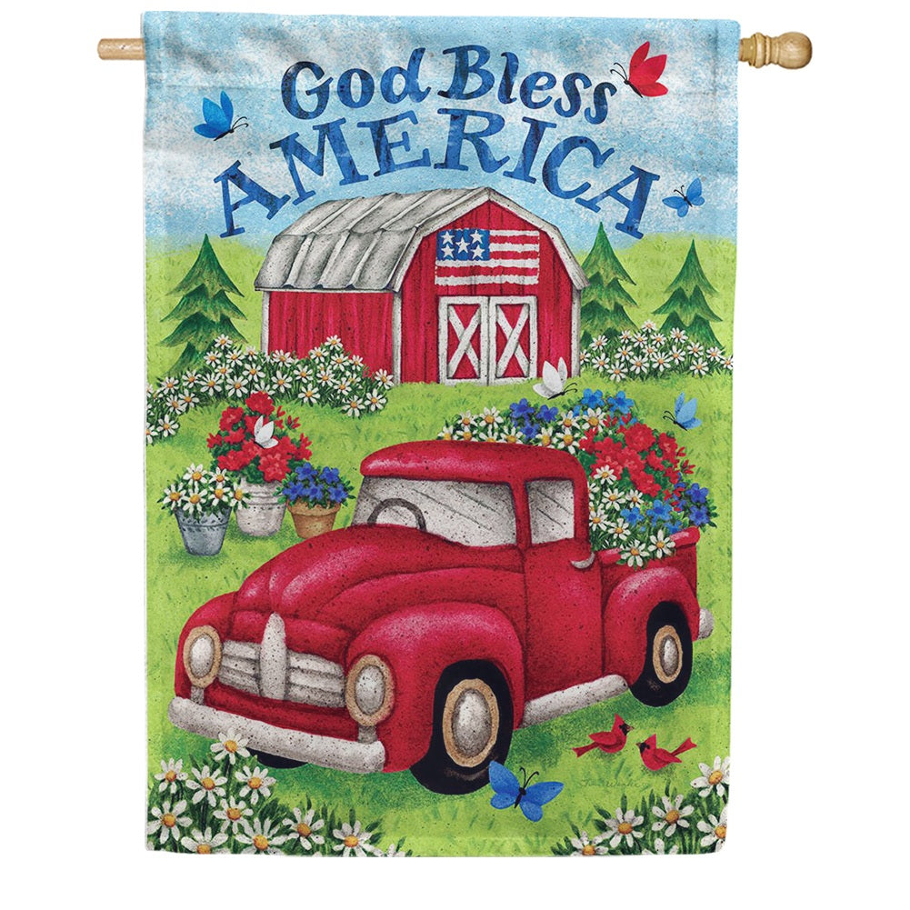 Truck and Barn Double Sided House Flag