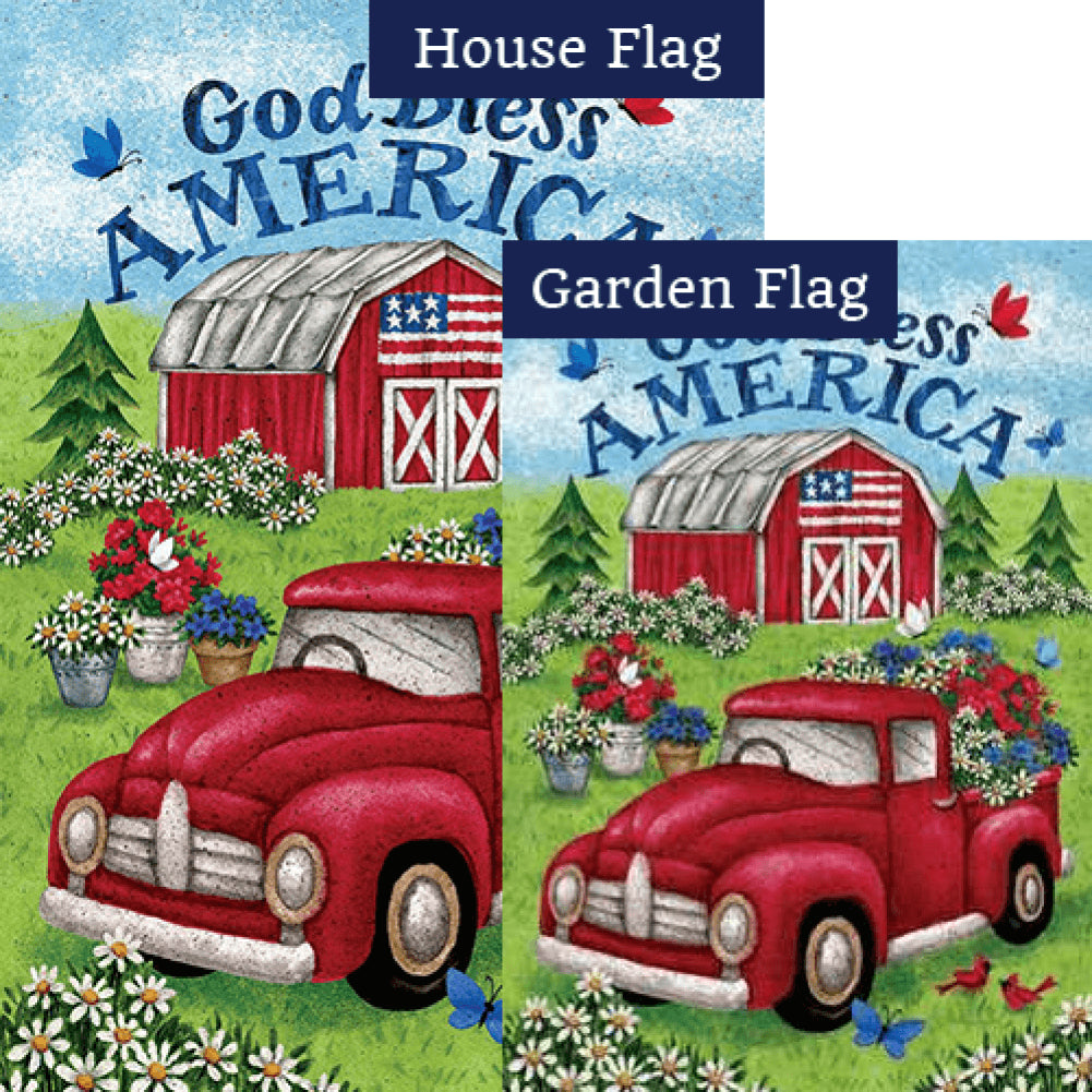 Truck and Barn Double Sided Flags Set (2 Pieces)
