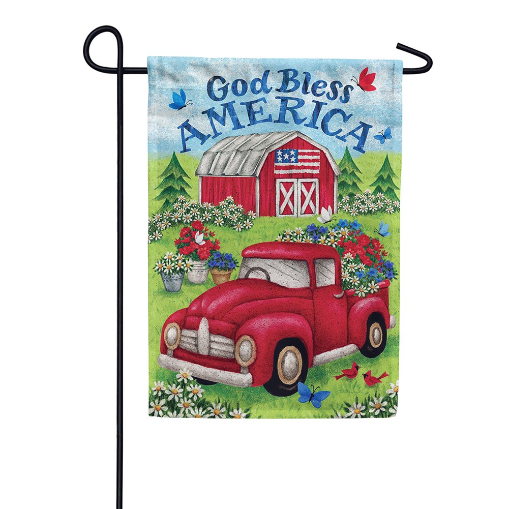Truck and Barn Double Sided Garden Flag