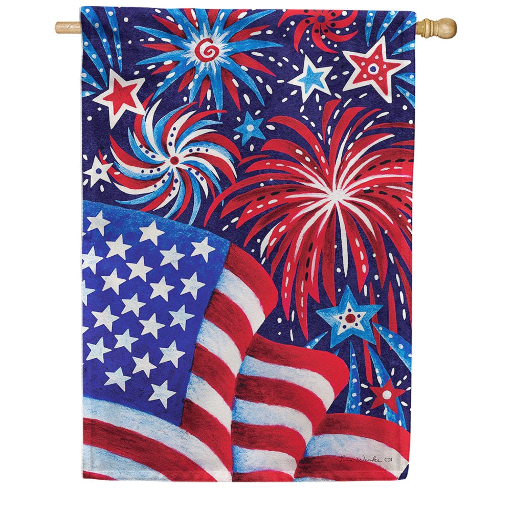 Fireworks And Flag House Flag