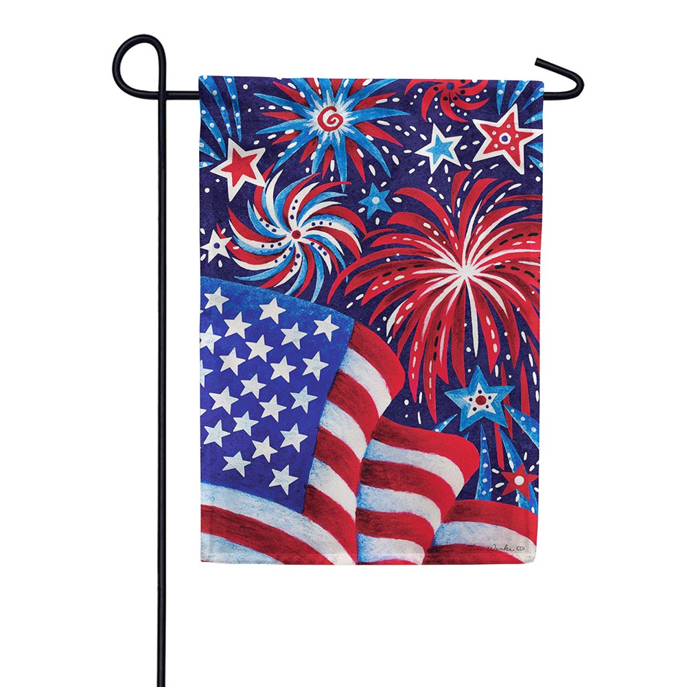 Fireworks And Flag Garden Flag