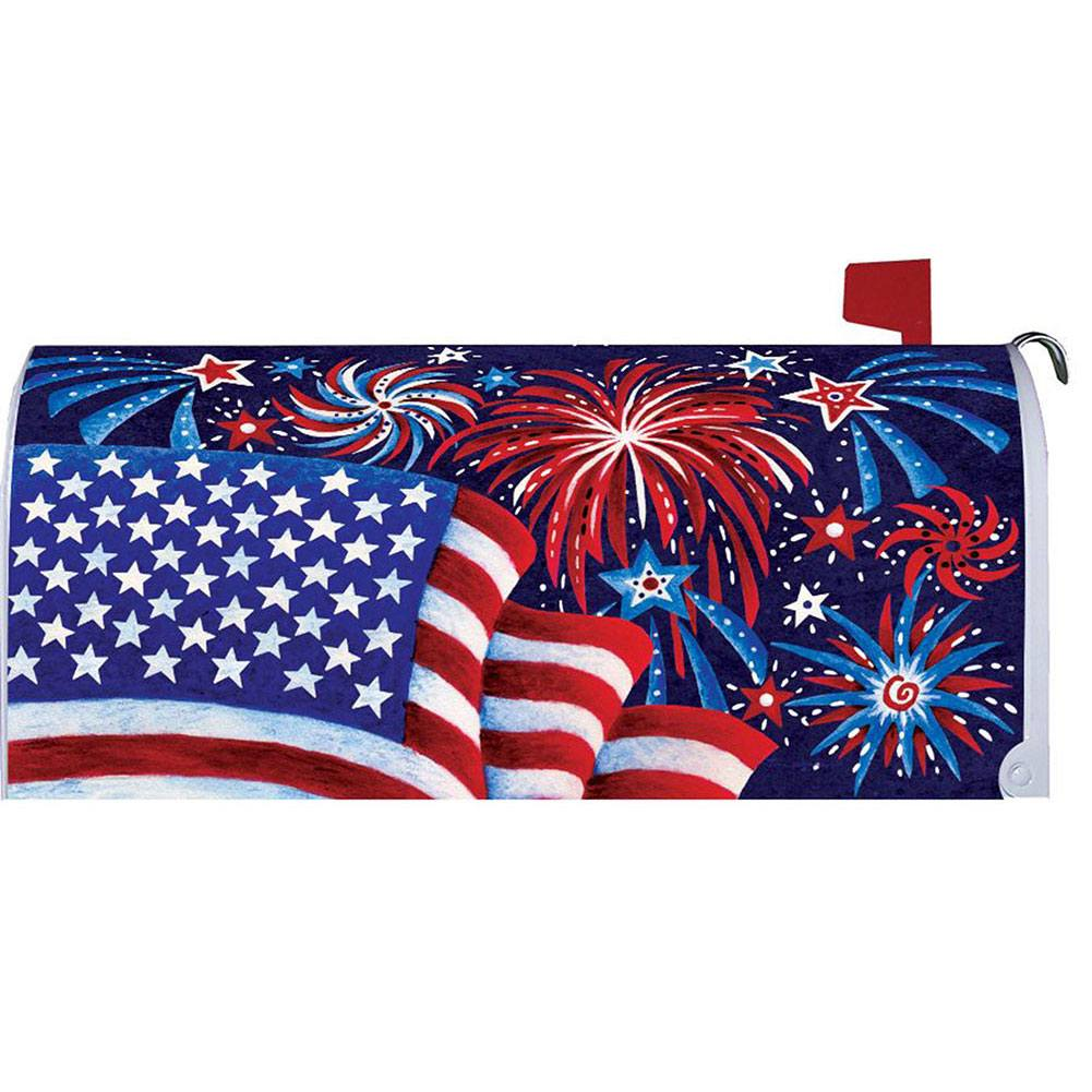 Fireworks And Flag Mailbox Cover